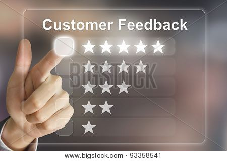 Business Hand Pushing Customer Feedback On Virtual Screen