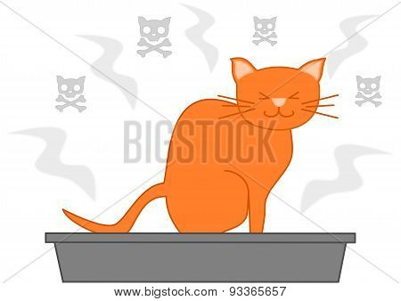 orange cat poop in the litter box funny cartoon illustration