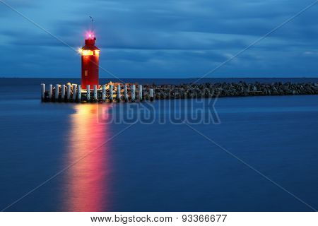 Hou lighthouse at the blue hour in Denmark poster