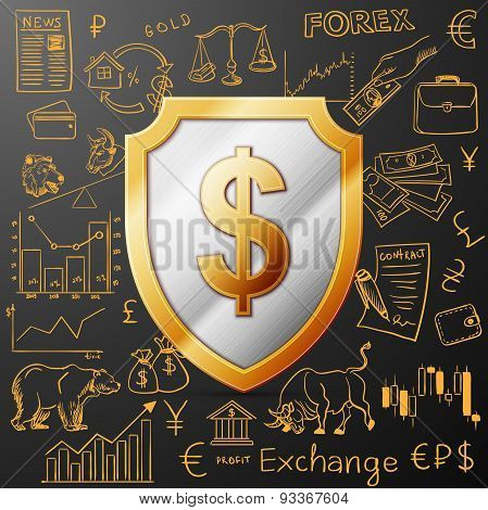 shield with dollar sign and exchange doodle icon, vector illustration, EPS 10 poster