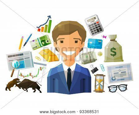 bank, stock exchange, business vector logo design template. money, broker, brokerage, stockbroker or
