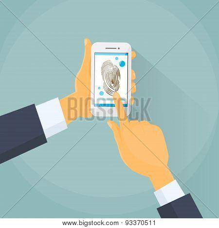 Finger Print Smart Phone Access Lock, Business Man Touch Screen Fingerprint