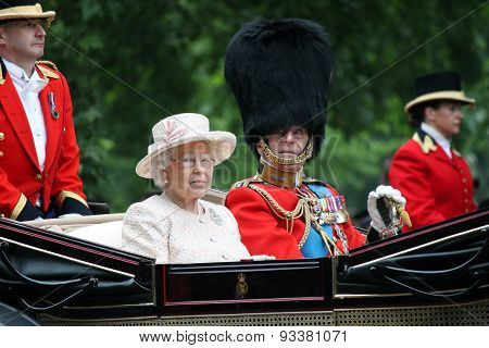 LONDON, England - JUNE 13 2015: Queen Elizabeth II and Prince Philip on the Royal Coach