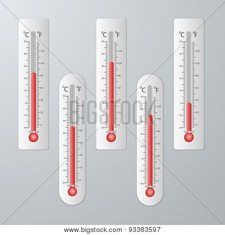 Modern Thermometers For Design Set.
