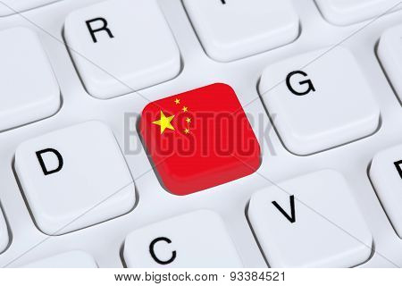 China Flag Internet On Computer Keyboard