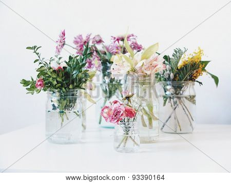 delicate flowers on white background