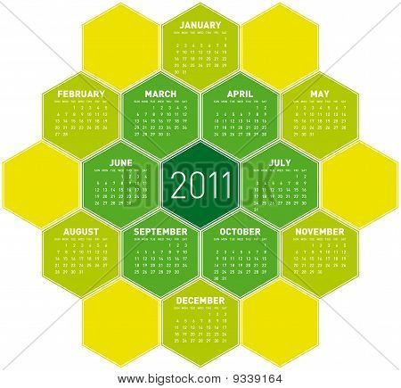 Green Hexagons Calendar 2011