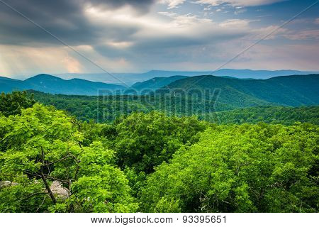 View From Loft Mountain, In Shenandoah National Park, Virginia.