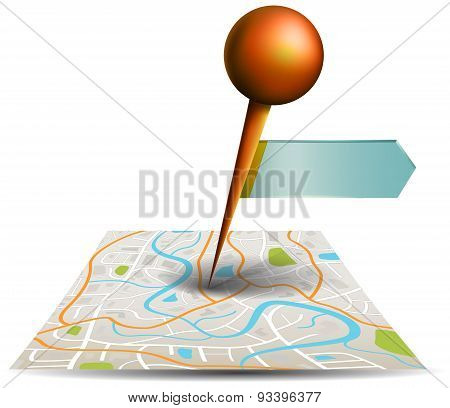 A City Map With Digital Satellite Gps Pin Point With Locations And Label Tag In White Isolated Backg