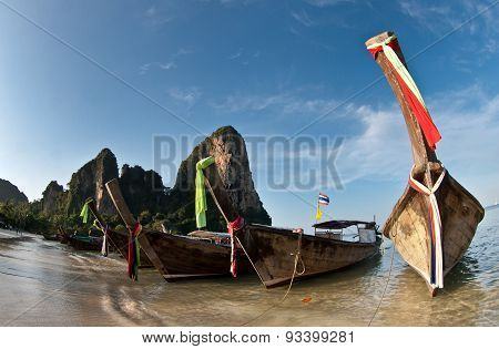 Several Long Tail Boat  At The Beach In Railay Beach Thailand