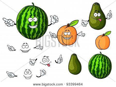 Cartoon watermelon, avocado and apricot fruits