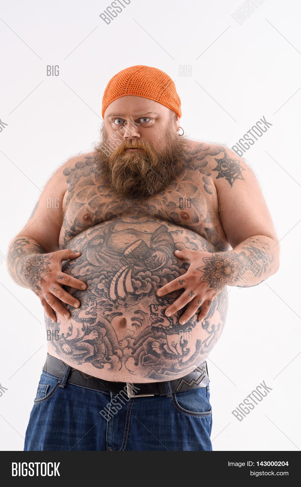 Very hungry fat man touching his image photo bigstock for Naked men tattoo