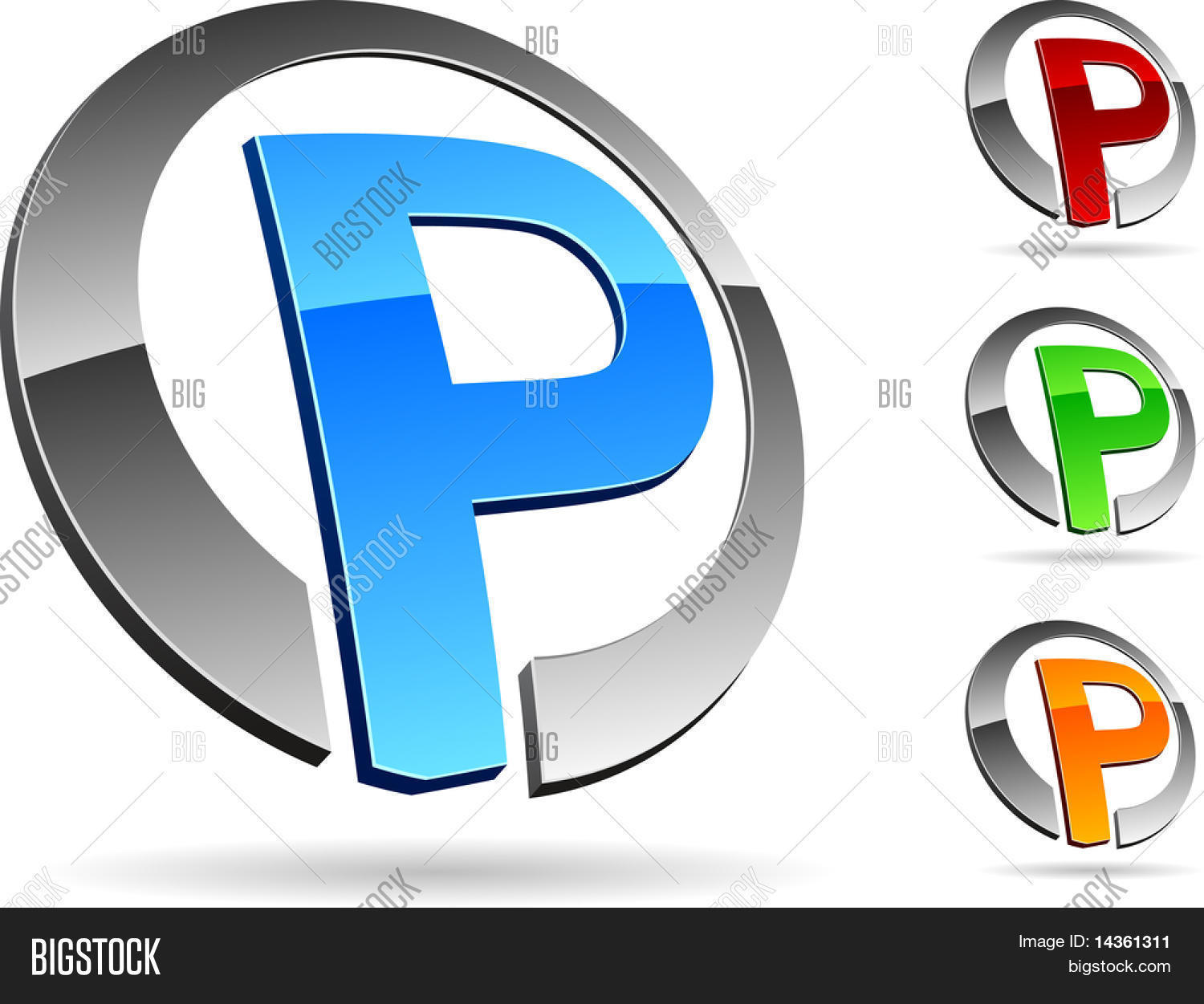 Letter P 3d Vector Icons Such Logos