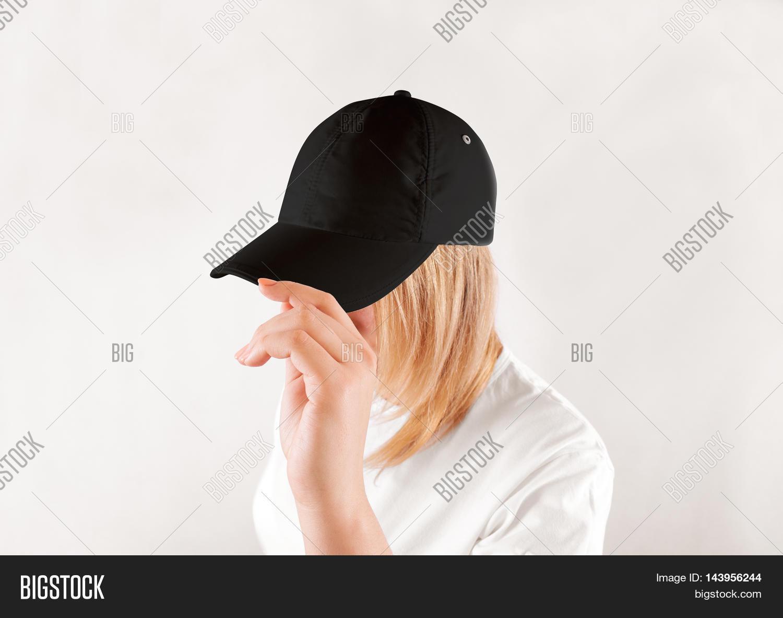 Blank black baseball image photo free trial bigstock blank black baseball cap mockup template wear on women head isolated side view maxwellsz