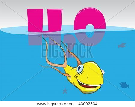 Cartoon yellow fish. Illustration fish. Logo fish. Water H2O text. Little silhouette fish. Funny fish. Smiling and happy fish. Blue ocean color.