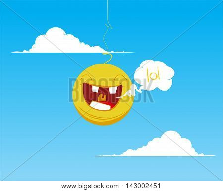 Smiling yellow happy sun laughing with open mouth. Cartoon vector isolated background with clouds and sun. Emoji smiley sun. Sunrise and sunset. Fun Sun Sunshine. Sun face. Funny sun meme lol.
