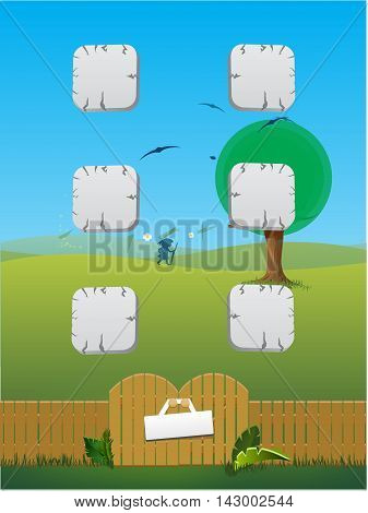 Cartoon wooden fence with grass. Sign on a wooden fence with the grass around it. Landscape with blue sky and wooden fence on the front. Vector illustration drawing of wooden fence.