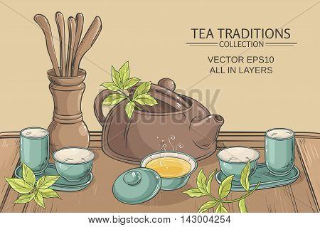 Tea table with teapot tea pairs tea gaiwan and tea tools