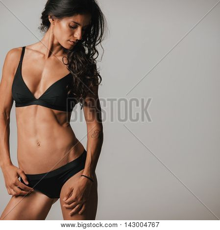 Sexy Young Woman Posing In Black Underwear