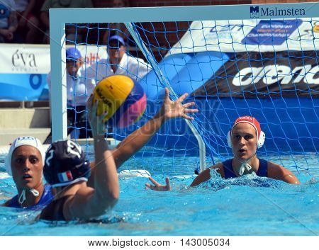 Budapest, Hungary - Jul 16, 2014. Italy's GORLERO Giulia (ITA, 1) goalkeeper at the goal line.  The Waterpolo European Championship was held in Alfred Hajos Swimming Centre in 2014.