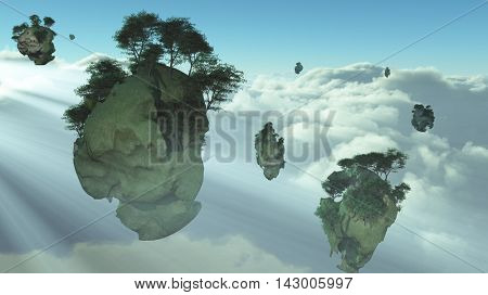 Islands float above the clouds 3D Rendered