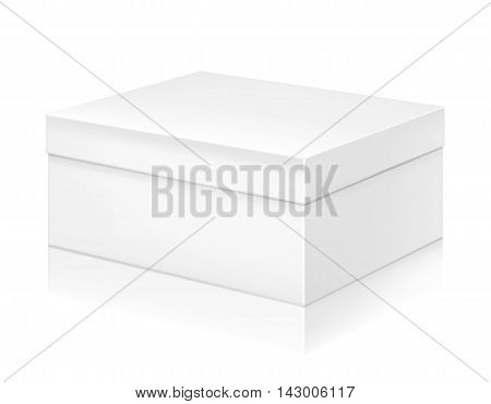Paper white shoe box mock-up template. Good for packaging design. Vector illustration.