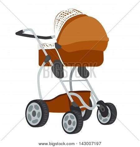 Vector colorful illustration of brown colored baby stroller in modern style isolated on white background.
