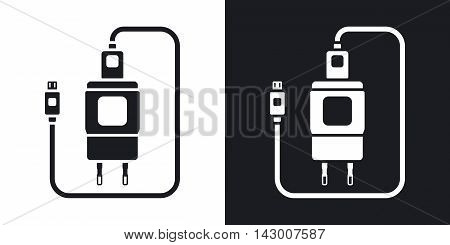Vector Charger for Phone with micro USB Connector icon. Two-tone version of simple icon on black and white background