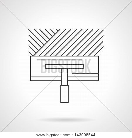 Wide spatula with trace on concrete or tile glue. Construction tools for renovation works, flooring, installing of heated floor and other services. Flat line style vector icon.