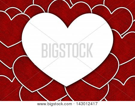art big white heart on small red heart pattern illustration background