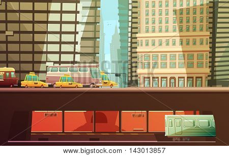 New york city design concept with skyscrapers and urban transport so as yellow cabs municipal transportation subway flat vector illustration