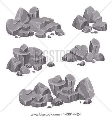 Design groups of rocks and stones boulders in gray color on white background isolated vector illustration