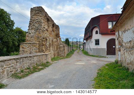 LEVOCA SLOVAKIA - AUGUST 18 2015: Old medieval fortification and buildings in Levoca Slovakia.