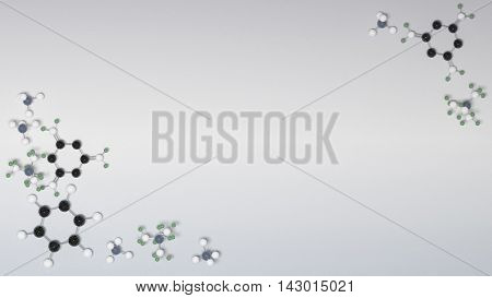 Benzol chemical molecules micro background. 3D illustration poster