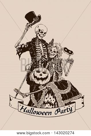 Vintage skeletons pumpkin halloween poster party vector illustration graphics monochrome image