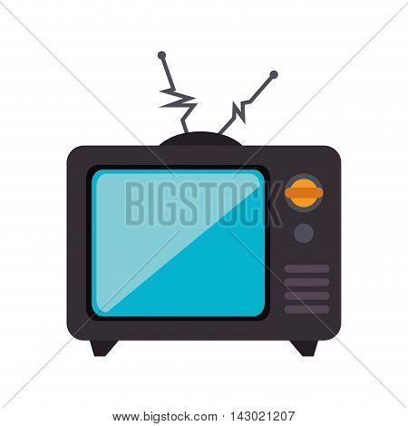 old tv retro antenna technology device vintage channel vector illustration isolated