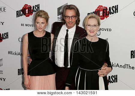 NEW YORK-AUG 3: (L-R) Actors Mamie Gummer, Rick Springfield and Meryl Streep attend the 'Ricki And The Flash' New York premiere at AMC Lincoln Square Theater on August 3, 2015 in New York City.