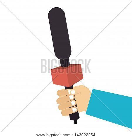 hand microphone news journalist media audio public press vector illustration isolated
