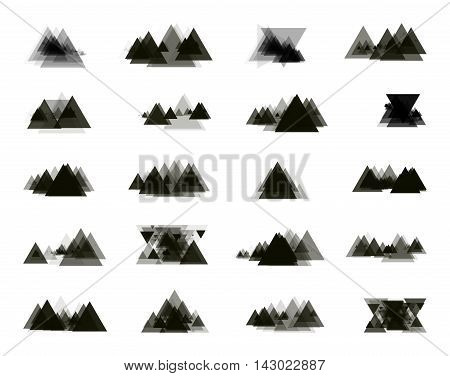 A collection of stand-alone monochrome black elements for design of posters cards brochures and site titles. Isolated objects on white background can be edited. Vector illustration
