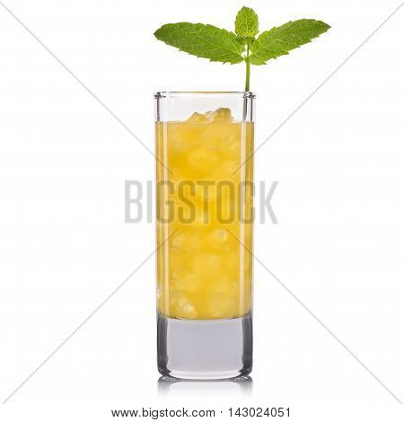 Yellow cocktail in tall glass isolated on white background.