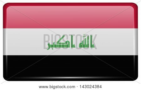 Flags Iraq In The Form Of A Magnet On Refrigerator With Reflections Light. Vector
