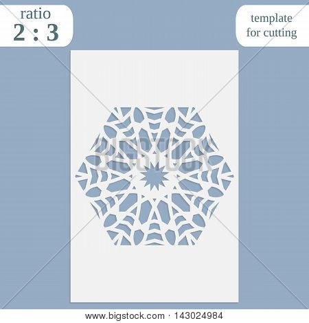 Paper openwork greeting card template for cutting lace invitation lasercut metal panel wood carving vector illustration poster