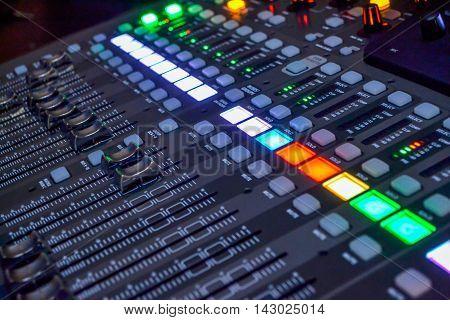 Console in a recording studio in operation