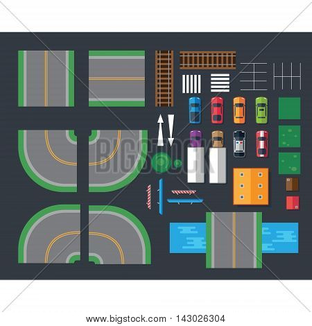 Flat cars and different things for cars. Top view