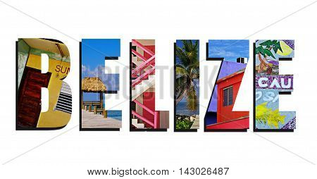 Assorted images of Belize in collage over white background