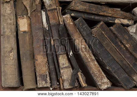 book stand in antique shop or vintage library old books