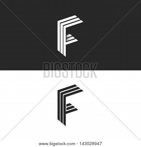 Letter F Logo Monogram Initial, Isometric Geometric Shape Graphic Design Set 3D Element, Linear Blac