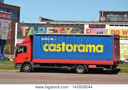 CIRCA AUGUST 2016 - GDANSK: sign of Castorama on truck. Castorama is British retailer of DIY and home improvement tools and supplies. In 1998 it  became subsidiary of Kingfisher plc.