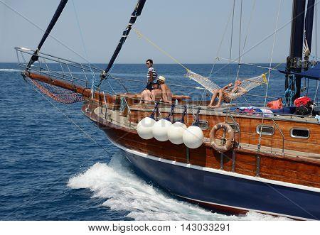 Kemer, Turkey, July 10, 2016. Travel on a yacht