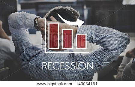 Recession Decrease Business Barchart Concept poster
